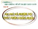 Bài giảng Công nghệ 7 bài 30: Vai trò và nhiệm vụ của phát triển chăn nuôi