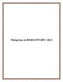 Thông báo số 89/2013/TT-BTC 2013
