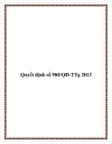 Quyết định số 980/QĐ-TTg 2013