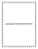 Quyết định số 19/2013/QĐ-UBND