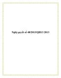 Nghị quyết số 48/2013/QH13 2013