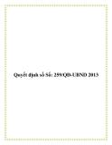 Quyết định số Số: 259/QĐ-UBND 2013
