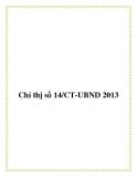 Chỉ thị số 14/CT-UBND 2013