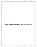 Văn bản số 1085/QĐ-UBND 2013