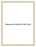 Thông báo số 91/2013/TT-BTC 2013