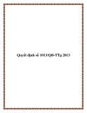 Quyết định số 1013/QĐ-TTg 2013