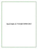 Quyết định số 1722/QĐ-UBND 2013