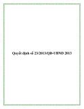Văn bản quyết định số 23/2013/QĐ-UBND
