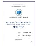 Tiểu luận: Phân tích báo cáo tài chính công ty cổ phần sản xuất thương mại may Sài Gòn (mã chứng khoán: GMC)
