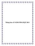 Thông báo số 31/2013/TB-LPQT 2013
