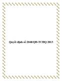 Quyết định số 2048/QĐ-TCHQ 2013
