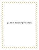 Văn bản 26/2013/QĐ-UBND