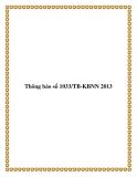 Thông báo số 1033/TB-KBNN 2013