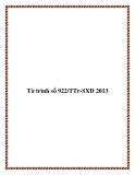Tờ trình số 922/TTr-SXD 2013