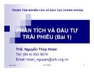 Bài giảng Phân tích và đầu tư trái phiếu - Ths.Nguyễn Thúy Hoàn