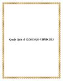 Quyết định số 12/2013/QĐ-UBND 2013 - tỉnh Cần Thơ