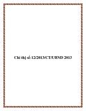 Chỉ thị số 12/2013/CT/UBND 2013