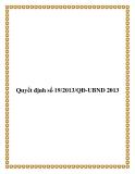 Văn bản quyết định số 19/2013/QĐ-UBND