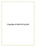 Công điện số 940/CĐ-TTg 2013