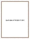 Quyết định số 703/QĐ-CT 2013