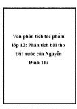 Văn phân tích tác phẩm lớp 12 bài thơ Đất nước của Nguyễn Đình Chiểu
