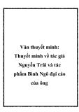 Thuyết minh về tác giả Nguyễn Trãi và tác phẩm Bình Ngô đại cáo của ông