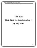 Tiểu luận: Thuế đánh vào thu nhập công ty tại Việt Nam