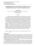 A Relationship between the Financial Consultants' Service Quality and Customer Trust after Financial Tsunami