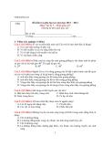 Đề kiểm tra giữa học kì I môn Vật lý lớp 7  năm học 2011 - 2012
