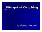 Bài giảng Hiệu quả và Công bằng - Nguyễn Hồng Thắng, UEH