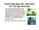 Bài giảng tranh chấp giữa: EU - Hàn Quốc về việc trợ cấp chính phủ