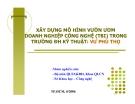 Tiểu luận: Xây dựng mô hình vườn ươm doanh nghiệp công nghệ (TBI) trong trường ĐH Kỹ thuật - Vườn ươm Phú Thọ