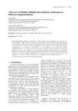 A Review of Modular Multiplication Methods and Respective Hardware Implementations