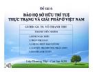 Thuyết trình: Bảo hộ sở hữu trí tuệ, thực trạng và giải pháp ở Việt Nam