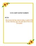 SKNN: Rèn luyện cho học sinh kỹ năng và phát triển tư duy Toán học qua việc giải một số bài Toán tích phân