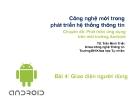 Bài giảng Phát triển ứng dụng trên môi trường Android