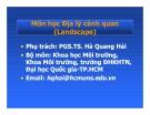 Bài giảng Địa lý cảnh quan: Chương 1 - PGS.TS. Hà Quang Hải