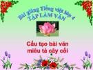Slide bài Tập làm văn: Cấu tạo bài văn miêu tả cây cối - Tiếng việt 4 - GV.Lâm Ngọc Hoa