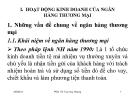Bài giảng Nghiệp vụ ngân hàng thương mại: Chương 1 - PGS.TS Trần Huy Hoàng