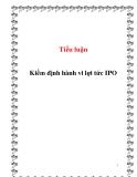 Tiểu luận: Kiểm định hành vi lợi tức IPO