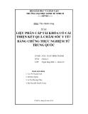 Tiểu luận: Liệu phân cấp tài khóa có cải thiện kết quả chăm sóc y tế? bằng chứng thực nghiệm từ Trung Quốc