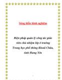 SKKN: Biện pháp quản lý công tác giáo viên chủ nhiệm lớp ở trường Trung học phổ thông Khoái Châu, tỉnh Hưng Yên