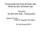 Bài giảng Du lịch sinh thái: Chương 1 - PGS.TS  Nguyên Văn Mạnh