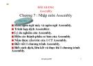 Bài giảng Assembly: Chương 7 - Nhập môn Assembly