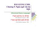 Bài giảng CSDL: Chương 5 - Ngôn ngữ vấn tin SQL