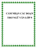 Cảm nhận các đoạn thơ Ngữ Văn lớp 9 - Trường THCS Quỳnh Thắng