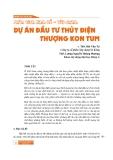 Nghiên cứu khoa học: Phân tích Kinh tế - Tài chính dự án đầu tư thủy điện thượng Kon Tum