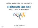 Bài giảng Marketing: Chiến lược SEO 2012 - Nguyễn Trọng Thơ