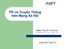 Bài giảng PR và Truyền thông trên mạng xã hội - Nguyễn Thị Nương