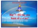 Bài giảng Đại số 7 chương 2 bài 7: Đồ thị hàm số y=ax (a#0)